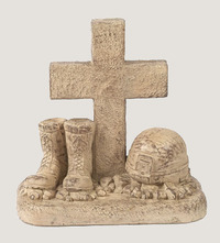 Soldier Boots And Helmet At Cross